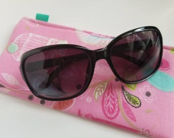 Padded Sunglass Case with Snap- Bird cages