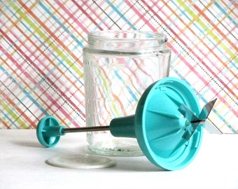 Glass Food Chopper Turquoise Aqua Plastic Top Cuts Nuts Veggies Measuring Cup Base Mid Century Retro Kitchen Tool