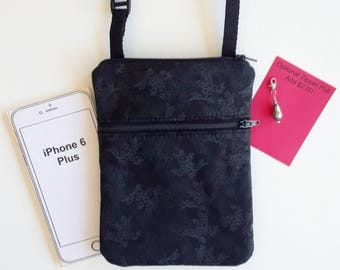 Cross Body, iphone6 plus, Small Purse, Cell Phone Purse. Black with Gray Flowers.