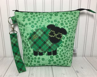 Medium Zipper with Handle Top Knitting Crochet Project Bag - St Patrick's Day Sheep