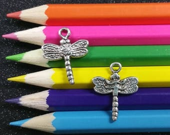 10 PCS - Dragonfly Insect Bug Wings Silver Charm Pendant C0138