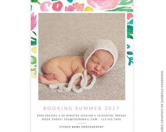 INSTANT DOWNLOAD -  5x7 Summer Marketing Board - Photoshop template - E1498