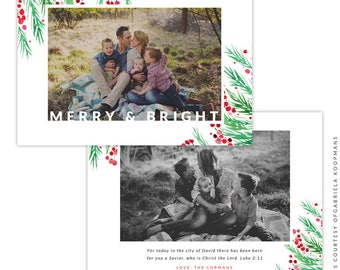 Christmas 5x7 Photo Card - Instant download - e1511