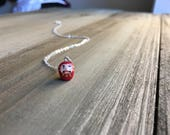Teeny Tiny Daruma Doll Necklace - Sterling Silver - Made To Order