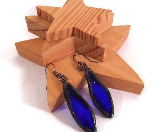 Blue Earrings Stained Glass Earrings Blue Spear Earrings Glass Metal Jewelry Handmade Earrings Dangle Drop Earrings Deep Blue Earring ForHer