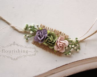 Purple and Pink Spring Tieback, newborn headbands, natural tieback, open tiebacks, burlap headbands, purple tiebacks, photography prop