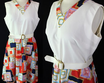 60s 70s Plus Size Dress, Mod, Abstract Print