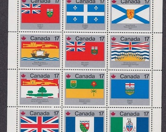 Vintage Stamps 1979 Canada Provincial and Territorial Flag Stamps - 12 stamp block - MNH - Scott #832A