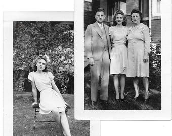 2 Vintage Photos - Family Posing in Their Sunday Best  - U.S.A. 1940s - Black & White original prints