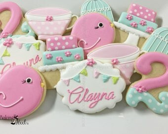 Tea Party Birthday Cookies, Birthday Cookies, Tea cup Cookies, Number Cookies, Bird Cookie, Cake cookie, Cake cookie, First Birthday