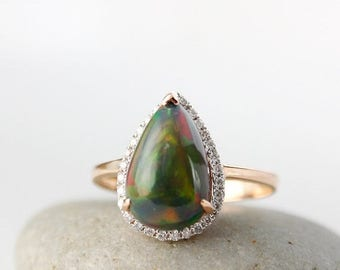ON SALE Pear Cut Black Opal Diamond Halo Ring – 18KT Rose Gold - Solitaire Ring