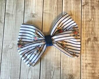 Navy White Stripe Anchor Floral Fabric Hair Bow Clip - Nautical Blue - You choose alligator clip or elastic band