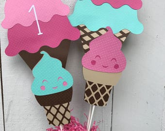 Ice Cream Cone Centerpiece/ Ice Cream Cone Cake Topper/ Party Decorations/ Table Decorations/ Cake Decorations/  Name/ Age/ Pink/ Blue