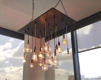 Summer Promo Unique Wood Pendant Chandelier With Nostalgic Bulbs