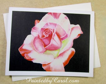 Rose Note Cards, Pink Rose Note Cards, Blank Note Cards, Pink Flower Note Cards, Note Cards with Flowers, Note Cards Gifts, Rose Gifts
