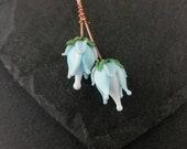 Pair pale blue rose headpins  Handmade lampwork glass