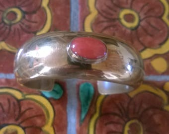 Orville Tsinnie Brass Cuff Bracelet With Coral From The 1990's
