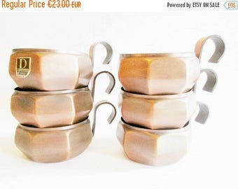 SUMMER SALE - Set of 6 Copper Tea Cup Holders Rectangular Shaped with Handles,  Modern Housewares, in a typical 70s Design