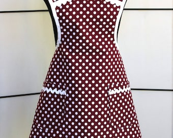 Vintage Style Polka Dot Cotton Apron with two pockets - fully lined - Burgundy and White