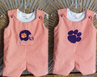 CLEMSON JON JON...or Longall! This Orange houndstooth will be perfect for game day! Choose a football helmet, paw, or monogram...or leave it