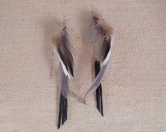 Hand made real feather earrings