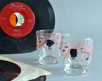 Pink Black 50s Shot Glasses Wedding Shot Glasses 50s Music Shot Glasses Hostess Gift Collectible 50s Shot Glasses Couples Shot Glass