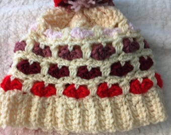 Crochet heart hat! Valentine's Day winter hat- poof hat- slouch hat- toddler to adult