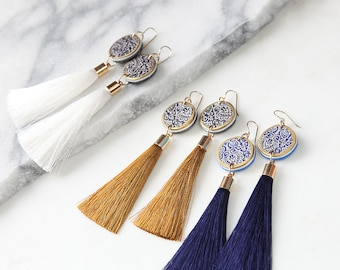 LUXE Tassel ART Statement Earrings - NAVY blue white gold silk tassel - Next Romance Jewellery Melbourne Australia boho luxe bridesmaid gift