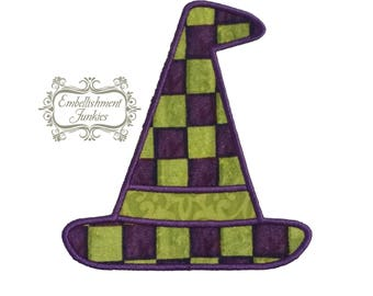 Green and purple witch hat- iron on embroidered fabric applique patch