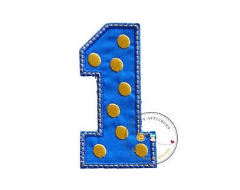 ON SALE NOW Blue block number one with embroidered gold dots, fabric iron on applique, machine embroidered iron on number 1 patch for kids,