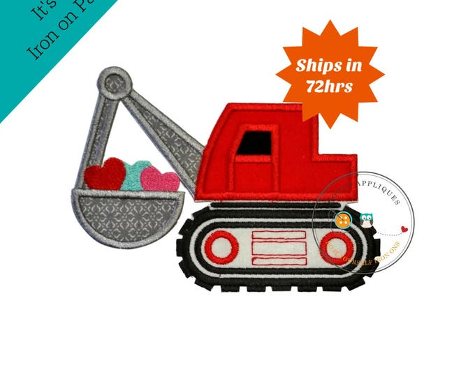 Valentine's day heart construction truck- fabric embroidery iron on applique-holiday-diy- dozer
