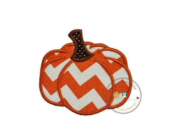 ON SALE NOW Small chevron pumpkin  iron embroidered fabric applique patch embellishment- ready to ship