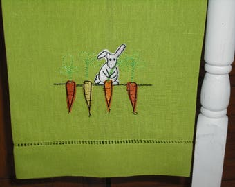 Green Carrot and Bunny Easter Spring Guest Towel. Machine Embroidered.