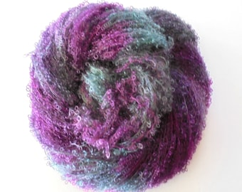 CARE SELVE - Hand-Painted Boucle Yarn, Sport Weight Yarn, Hand painted Soft Kid Mohair Yarn in purple, moss, fuchsia, gift for knitter OOAK