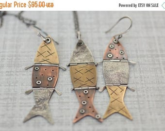 "ON SALE Hinged Fish Pendant, Mixed Metal Pendant, Reticulated Silver Pendant, Riveted Pendant, ""Hooked"""