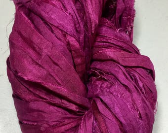 Recycled Sari Silk Ribbon Cranberry Tassel Supply Dreamcatcher Jewelry Eco Wrap Craft Fair Trade Fiber Art Felt Knit Crochet Supply