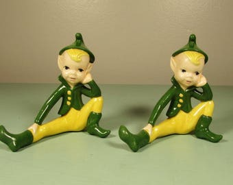 Pair of Pixie Elf Figurines - Vintage Green Yellow Sitting Elves