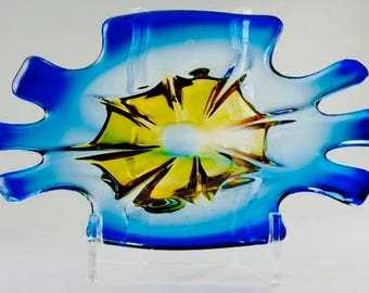 Vintage Mid Century Danish Modern Biomorphic Art Glass Bowl