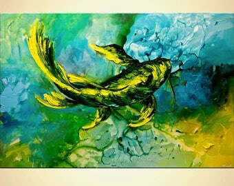 Canvas Art - Stretched, Embellished & Ready-to-Hang Print - Yellow Koi Fish - Art by Osnat