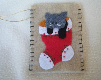 Beige Felt Kitten in a Stocking Envelope Style Christmas Ornament/Gift Card Holder