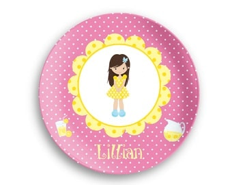 Personalized Plate  – Lemonade Stand Girl Yellow Flower Pink Polka Dot, 10 inch ThermoSaf® Polymer Plate, Kids Personalized 8.5 inch Bowl