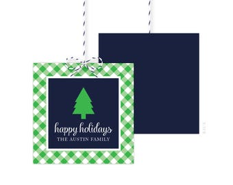 Christmas Gift Tags - Green Tree Gift Tag - Holiday Party Favor Tags - Christmas Party Tags - Printed or Printable - Free Shipping