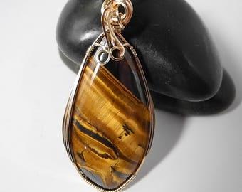 Australian Tiger Eye Pendant, Large Golden Tiger Eye, Tiger Eye Necklace, Tiger Eye Jewelry, Tigers Eye,  Natural, Earthy, Mystical Moon