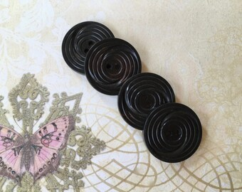 4 Handsome Vintage 1940's Black Buttons of Celluloid