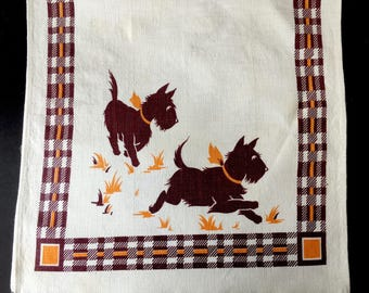 Cute Little 1950's Scotty Dog Dish Towel for Project