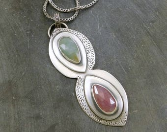 Pink Green Sapphire Teardrop Pendant, Oxidized Sterling Silver, Raw Rosecut Sapphire Necklace
