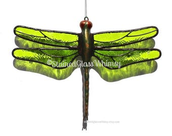 Green Stained Glass Dragonfly Suncatcher, Lime, Spring Green, Textured Pressed Glass, Metal Body, Green Dragonfly Ornament, Green Firefly