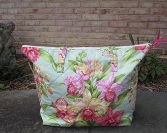 "Large Quilted Tote Bag ""Pink Orchids"" Extra Large Tote, Botanical, Orchid Tote, Big Travel Bag, Quiltsy Handmade, Carry-all, Fabric Tote"