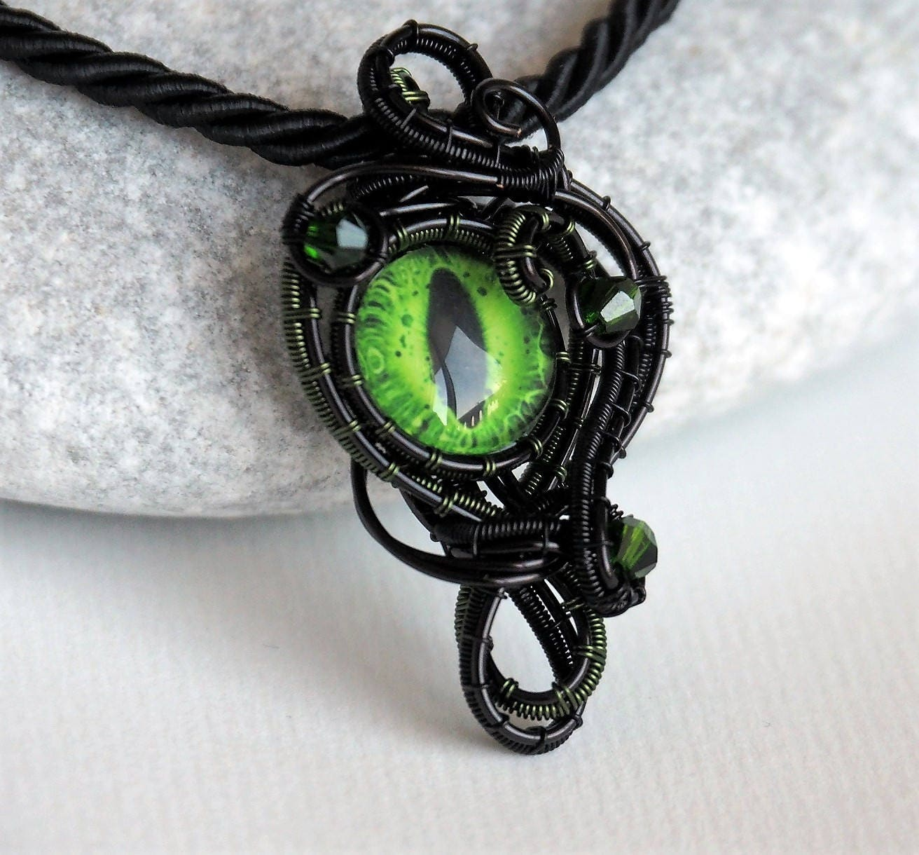 Dragon eye wire wrapped pendant green black necklace for Dragon gifts for men