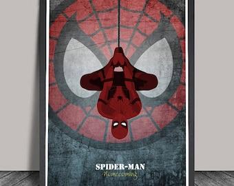 Spiderman Homecoming art print Superhero Minimalist.Avanger.poster,Heroes Illustrations,Wall art,Artwork,DC comics poster,Gift,Gift for him